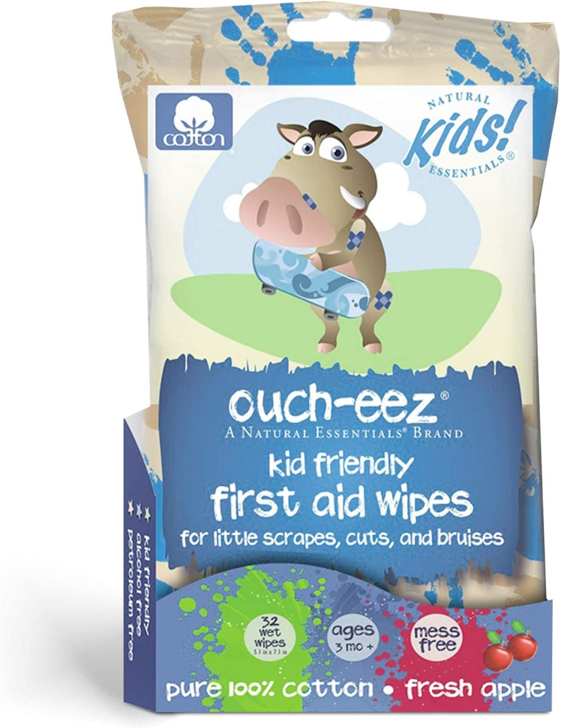 Natural Essentials - Ouch-eez, Kid Friendly First Aid 100% Cotton Wipes, 32-Count, Fresh Apple Scent For Little Scrapes, Cuts and Bruises, Ages 3 Months & Up