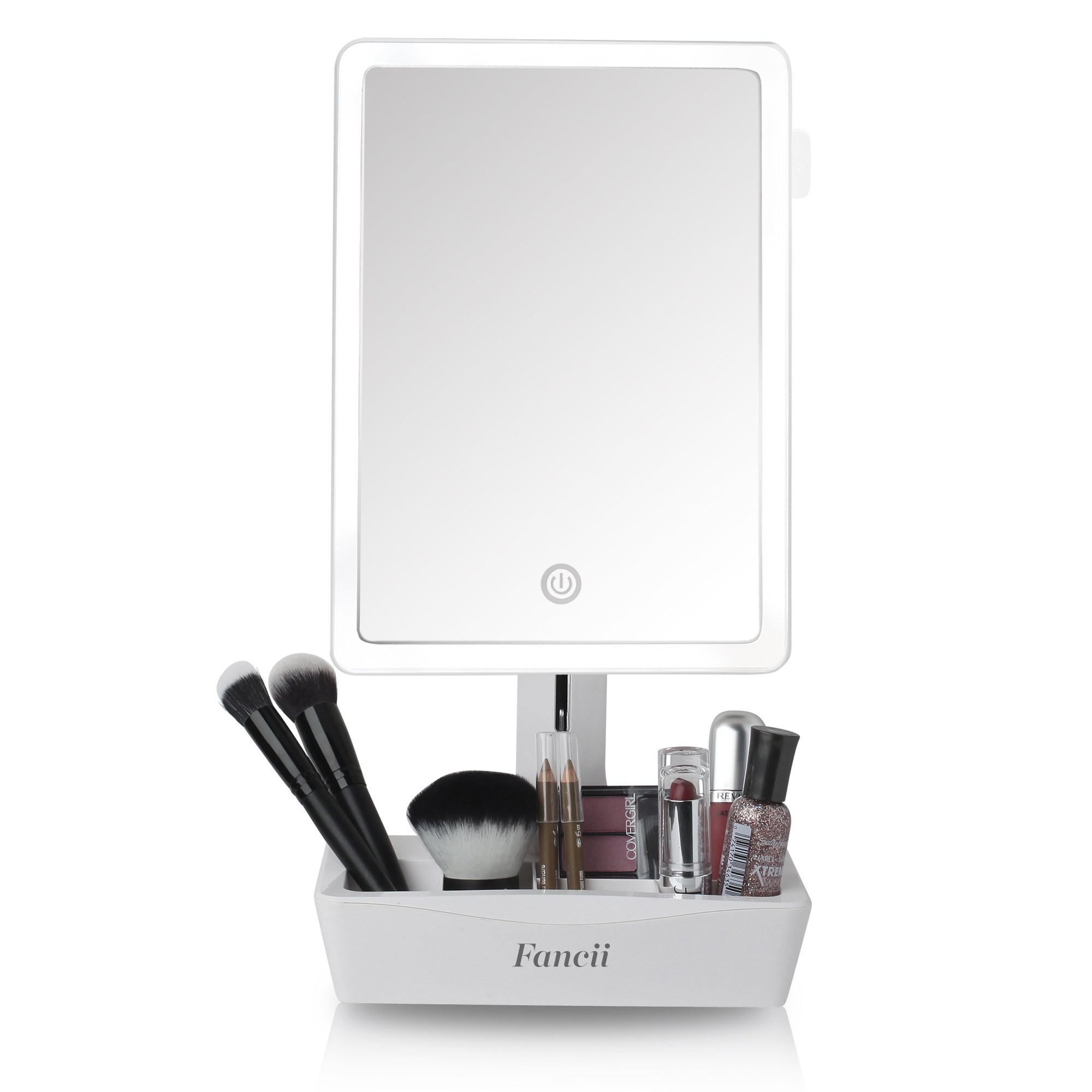 Fancii LED Lighted Large Vanity Makeup Mirror with 10X Magnifying Mirror - Dimmable Natural Light, Touch Screen, Dual Power, Adjustable Stand with Cosmetic Organizer - Gala by Fancii