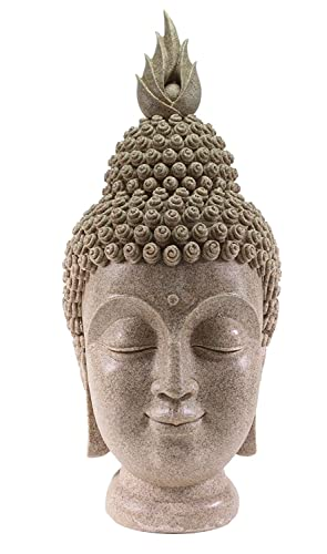 Smiling Meditating Buddha Shakyamuni Head Statue Large 15 Tall Blessing Mercy Love