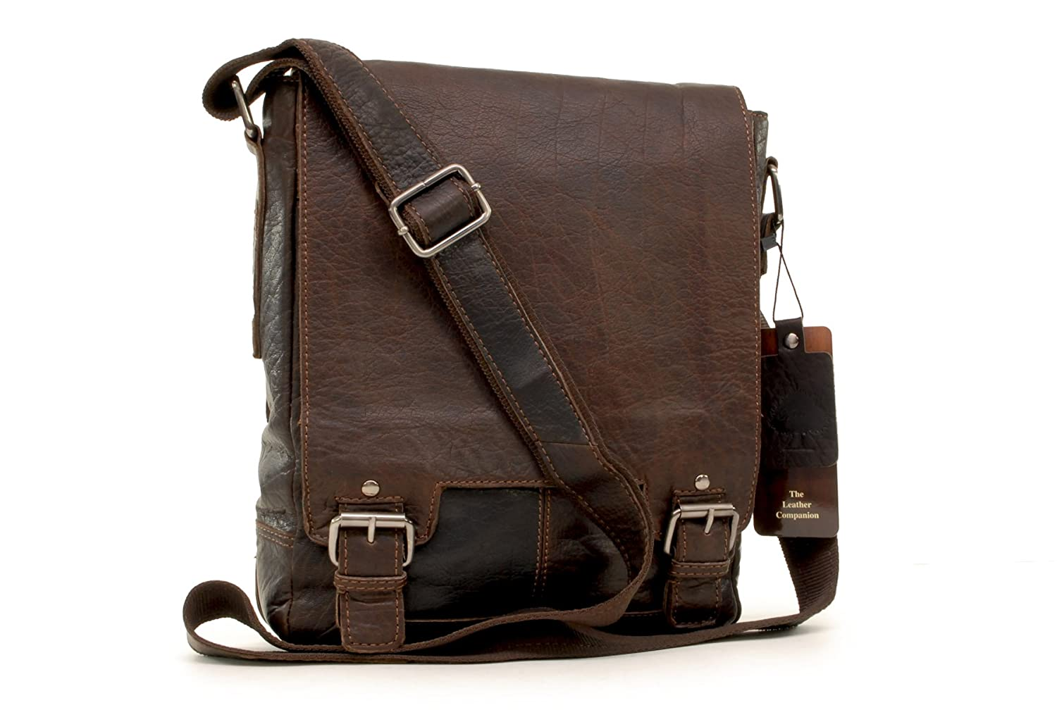 Ashwood Messenger Bag - Laptop iPad A4 Size - 8342 - Brown Leather Ashwood Leather