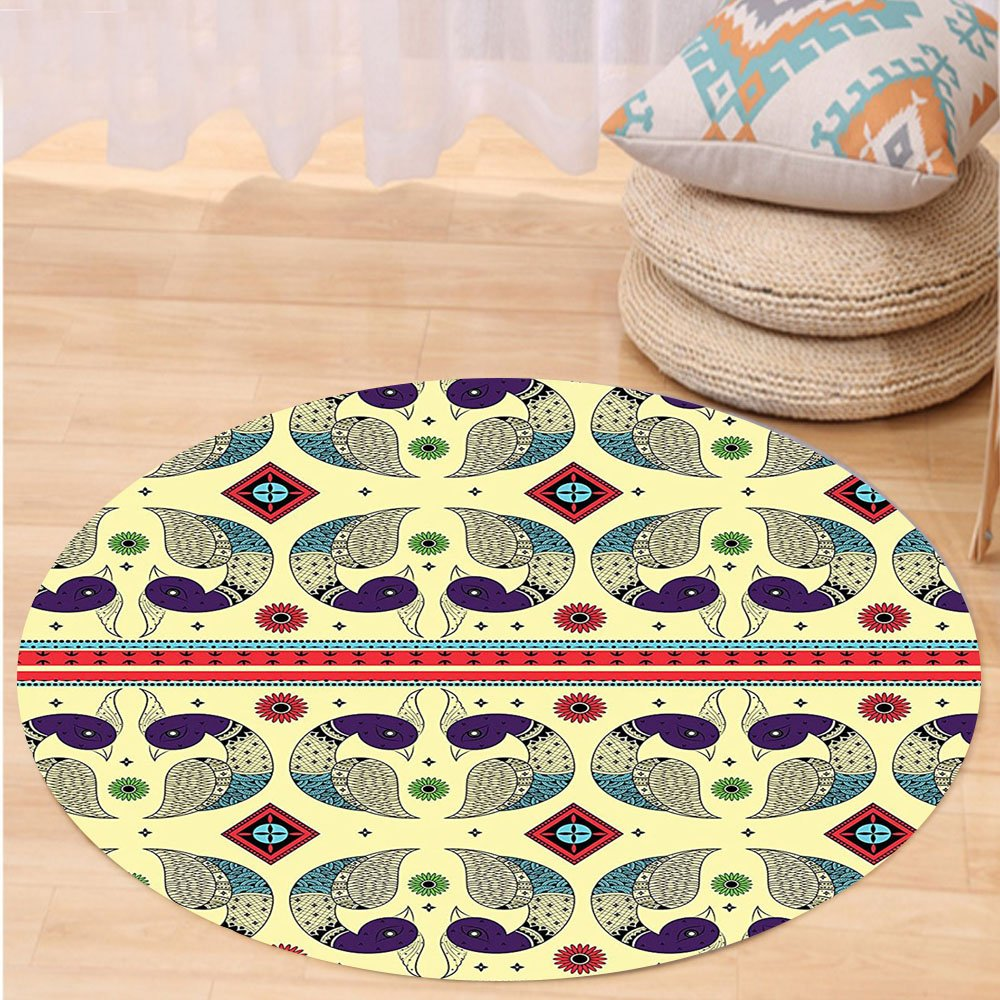 VROSELV Custom carpetTribal Decor Indian Creative Peacock Pattern with Flowers Abstract Native America Art for Bedroom Living Room Dorm Cream and Purple Round 72 inches