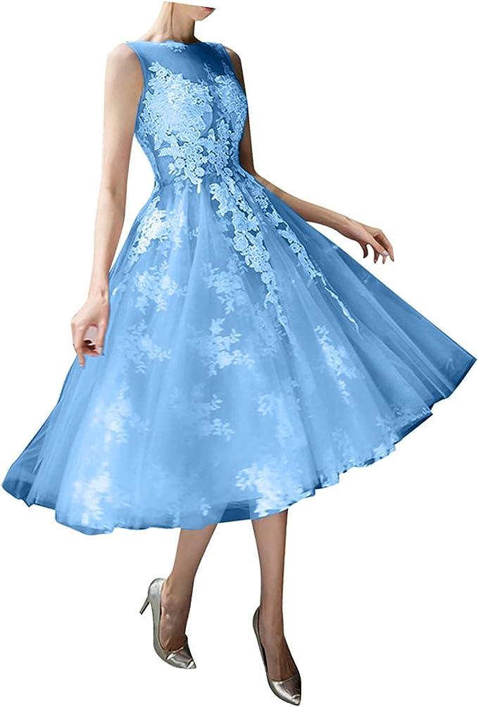 La_mia Braut Wadenlang Spitze Tuell Abendkleider Abiballkleider Promkleider  Ballkleider Kurz Prinzess A-Linie Rock