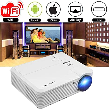 Video Projector 1080p HD 3900 Lumen, Wireless Proyector WiFi Android WXGA Multimedia Home Theater LCD Projectors Support HDMI VGA USB TV Laptop Tablet ...