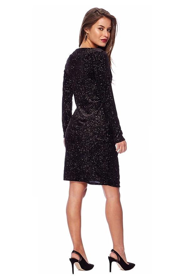 Debenhams Womens Petite Black Bronze Sparkle Velvet Party Event Dress at Amazon Womens Clothing store: