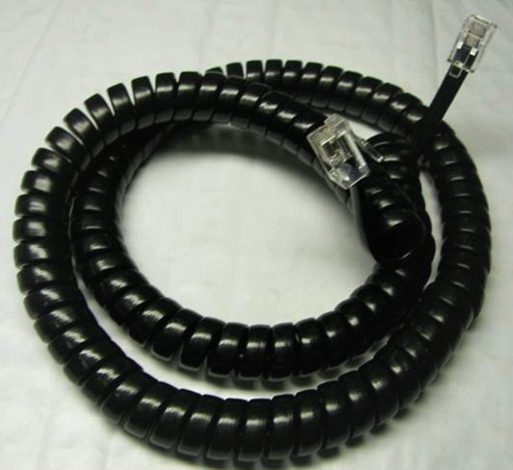 Lot of 25 Glossy Black 12' Ft Handset Cords for Shoretel 100 200 500 Series IP Phone 110 115 210 212 212K 230 230G 530 560 560G 565 565G SIA SEV (25-Pack) by DIY-BizPhones