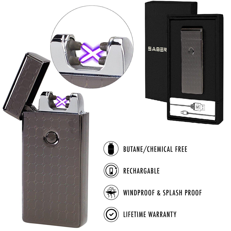 Saberlight X Dual Arc Plasma Lighter - Rechargeable Flameless Plasma Beam Lighter - Electric Lighter - Plasma Lighter - Rechargeable - no Butane - splashproof - Windproof