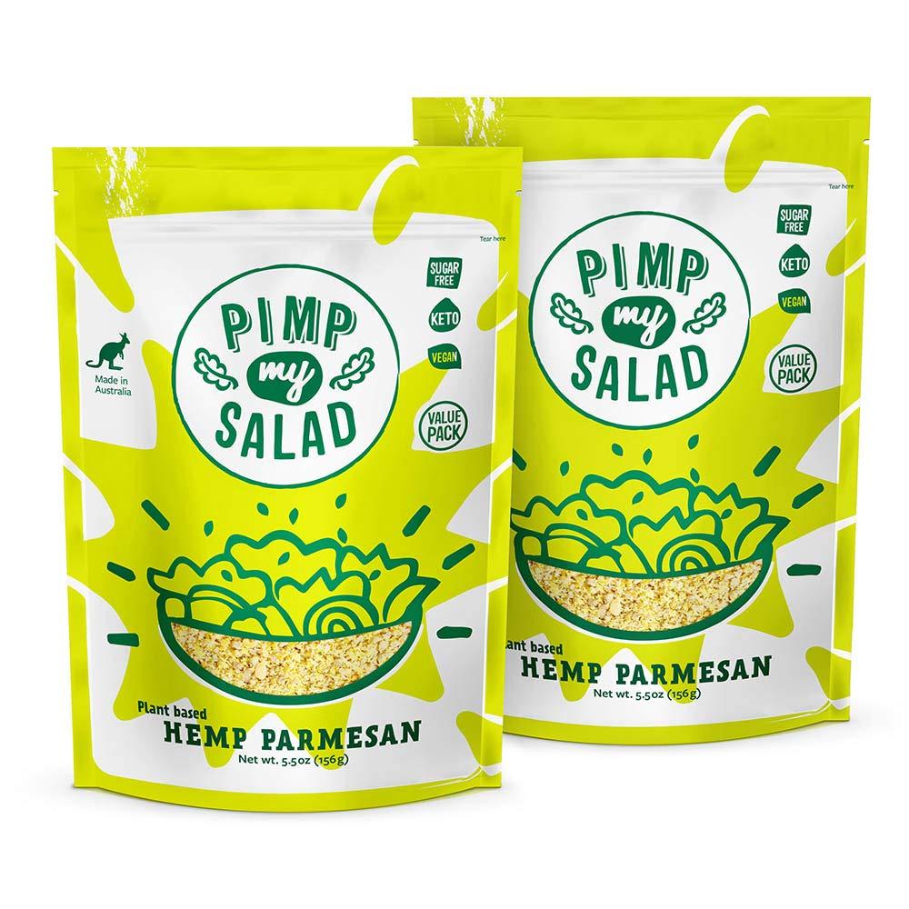 Pimp My Salad Hemp Parmesan   Vegan Parmesan   Plant Based Vegan Cheese   Plant Based Protein Powder   SuperFood   Diary Free Alternative   Gluten Free   Hemp Cheese   Low Carb   2 Value Packs