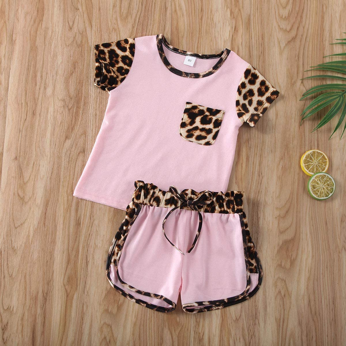 Carolilly Toddler Kids Baby Girl Summer Outfits Short Sleeve T-Shirt Top Leopard Shorts Pants Clothes Set