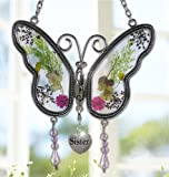 Sister Butterfly Suncatcher with Pressed Flower Wings - Sister Gifts - Gifts for Sisters - Sister Butterfly