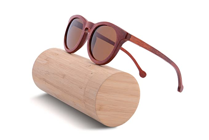 f5bc0fce219 Vintage Bamboo Wood Sunglasses for Men Round Frame Polarized with Case-  TU51(red pear)  Amazon.co.uk  Clothing