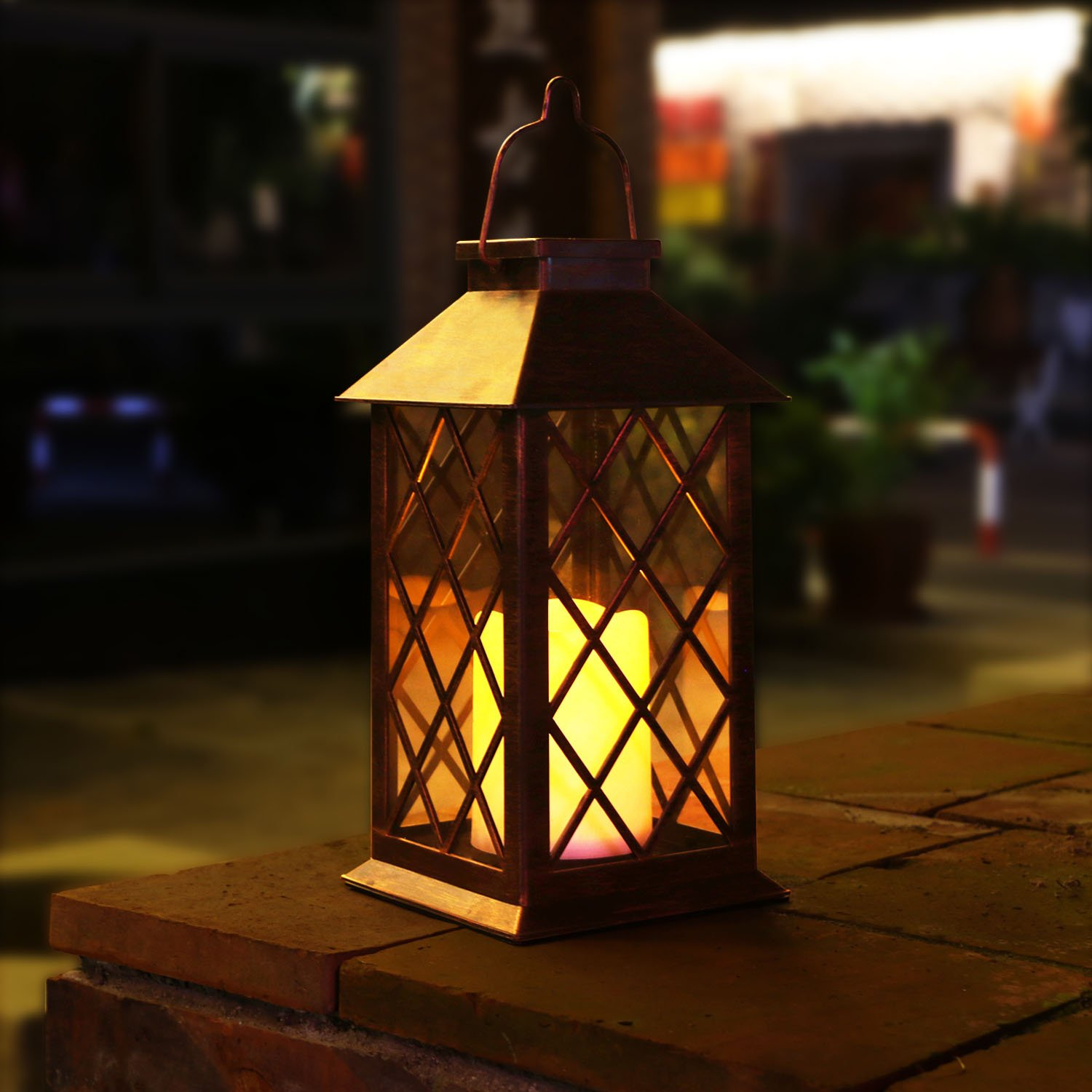 TAKE ME Solar Lantern,Outdoor Garden Hanging Lantern-Waterproof LED Flickering Flameless Candles Mission Lantern for Table,Outdoor,Party by TAKE ME
