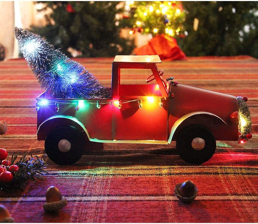 Amazon Com Atdawn Christmas Red Metal Pickup Truck With Xmas Tree