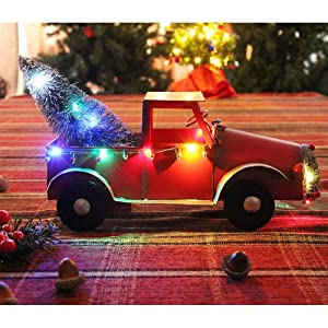 ATDAWN Christmas Red Metal Pickup Truck with Xmas Tree, Red Toy Trucks, Handmade Metal Old Car, Vintage Red Trucks, Model Red Pickup Trucks, Decorative Collectible Vehicle, Battery Operated Lighted