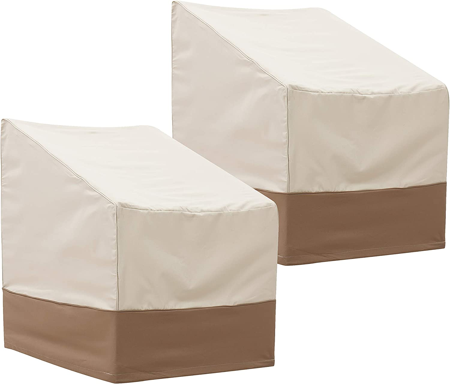 """Finnhomy Outdoor Patio Chair Covers Set of 2 Waterproof Furniture Chair Covers Weather/Fade Resistant 2 Pack Beige 25.5"""" L X 32.5"""" D X 34"""" H"""