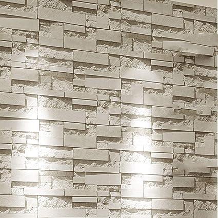 Amazon Com Zsllo Modern Stacked Brick 3d Stone Wallpaper