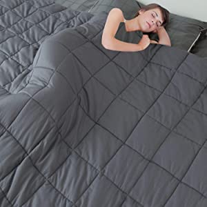 "MerLerner Weighted Blanket (15LBS 88""X104"" 7-Layered) King Size Comfortable 100% Cotton Breathable Washable Weighted Blanket with Glass Beads for Adult,Dark Grey"