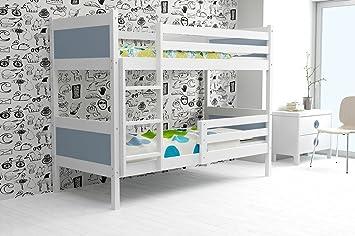 Etagenbett Rino 200 X 90, Bett Für Kinder Und Jugendliche In Kiefer Massiv.  Grau