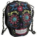 Cowgirl Trendy Sugar Skull Day of the Dead Cute Crossbody Purse Fashion Bag