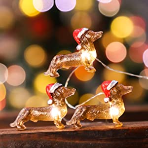 Impress Life Dachshund Santa Decorative String Lights, 10ft 30 Pet Theme LED Twinkle Lights, USB Battery Operated with Remote for Christmas New Year Festive Holiday Party Supplies