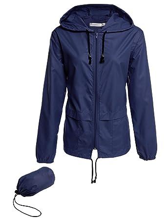 bc0705a9326 Corgy Womens Lightweight Travel Trench Waterproof Raincoat Hoodie Windproof  Hiking Coat Packable Rain Jacket Navy Blue