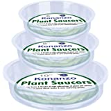 Konanzo Plant Saucer 15 Pack of Clear Plastic Saucers Drip Trays in Assorted Sizes (6 inch/8inch/10inch) Flower Pot Tray…