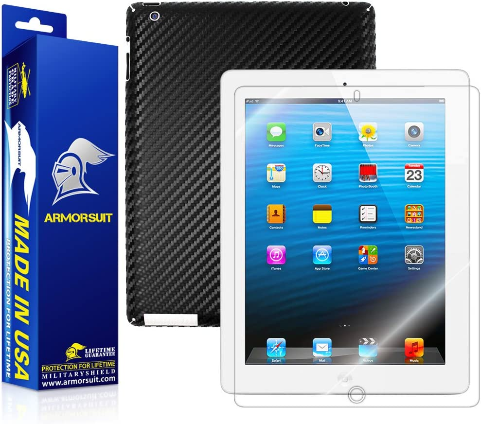Screen Protector ArmorSuit MilitaryShield Apple iPad 2 White Carbon Fiber!