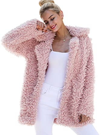06ed32cf169c BerryGo Women's Shaggy Long Faux Fur Coat Jacket Outwear at Amazon ...