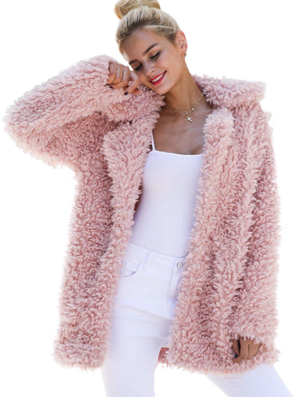 BerryGo Women's Shaggy Long Faux Fur Coat Jacket Outwear Pink,S