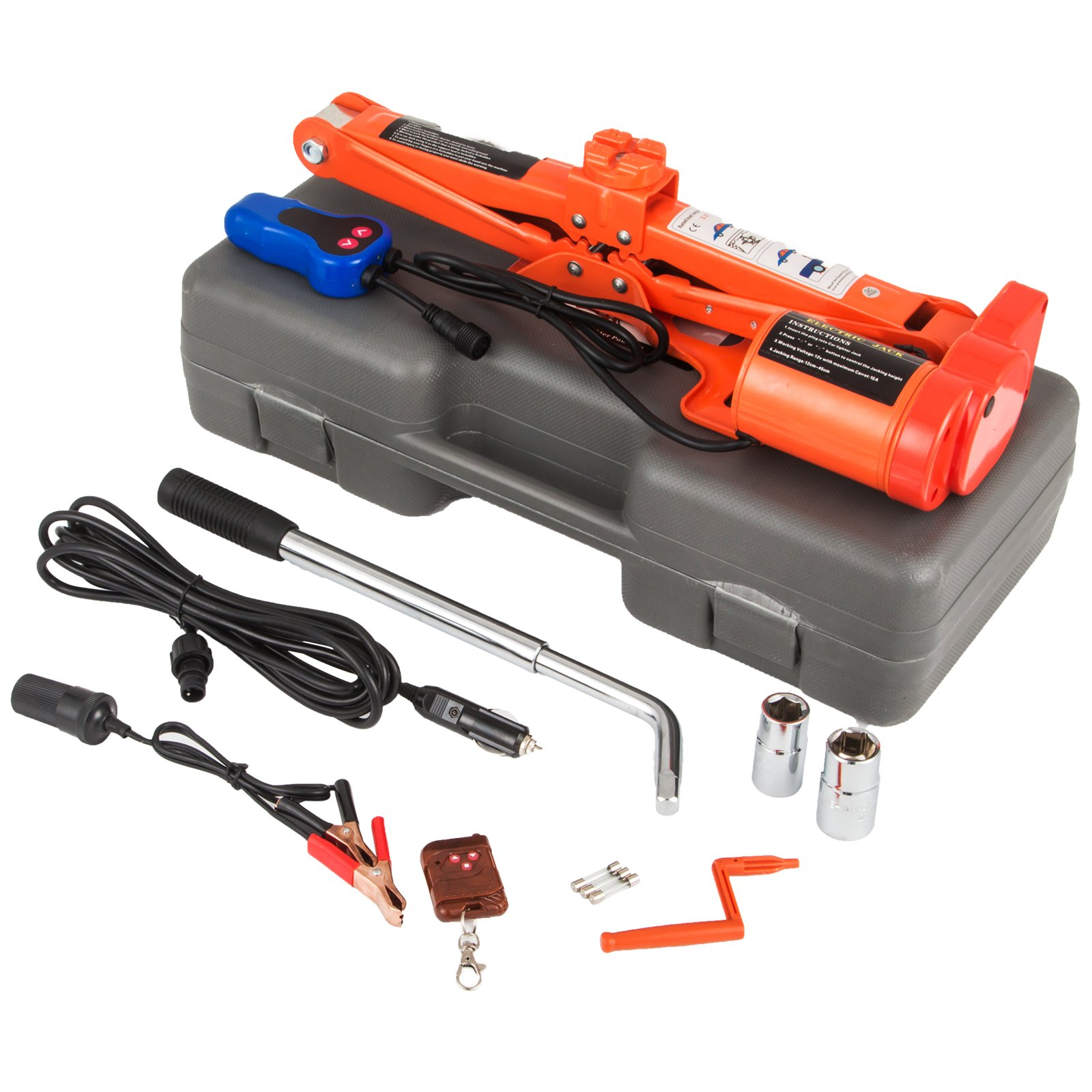 Mophorn 12V DC Electric Scissor Jack 3 Ton 6000LBS Automatic Electric Car Jack 120-450mm Remote Control Scissor Lift Jack (3T 6600LBS No Wrench)