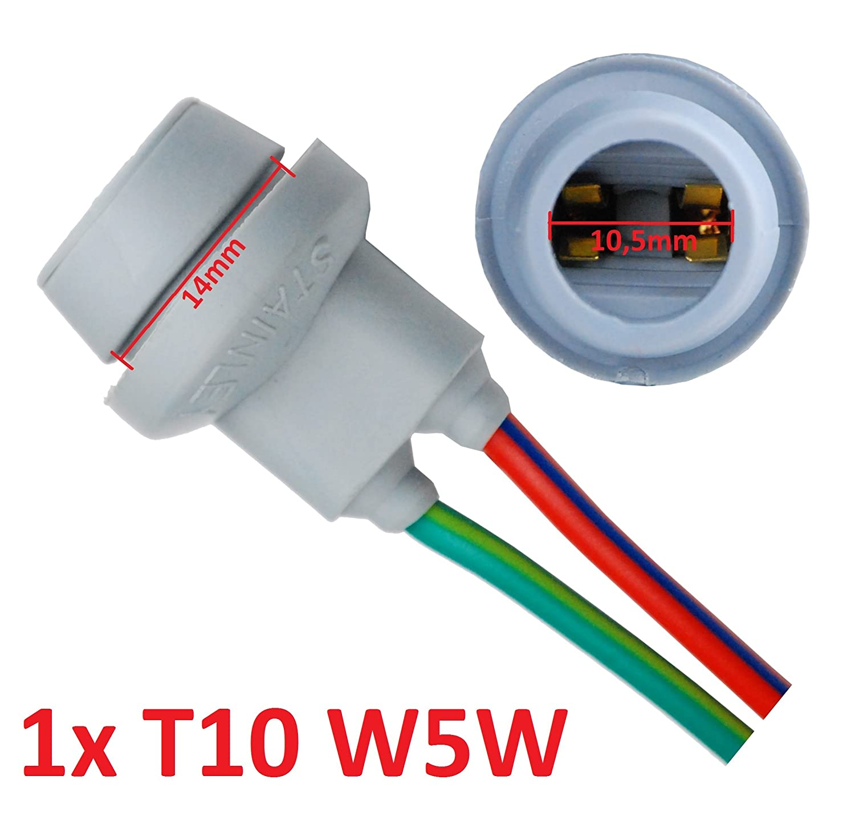 L&P B585 1x T10 W5W Gummi Fassung Lampen Gummifassung Lampenfassung Glassockel fü r W2, 1X9, 5D Glü hlampen Glü hbirnen Lampen L&P Car Design GmbH