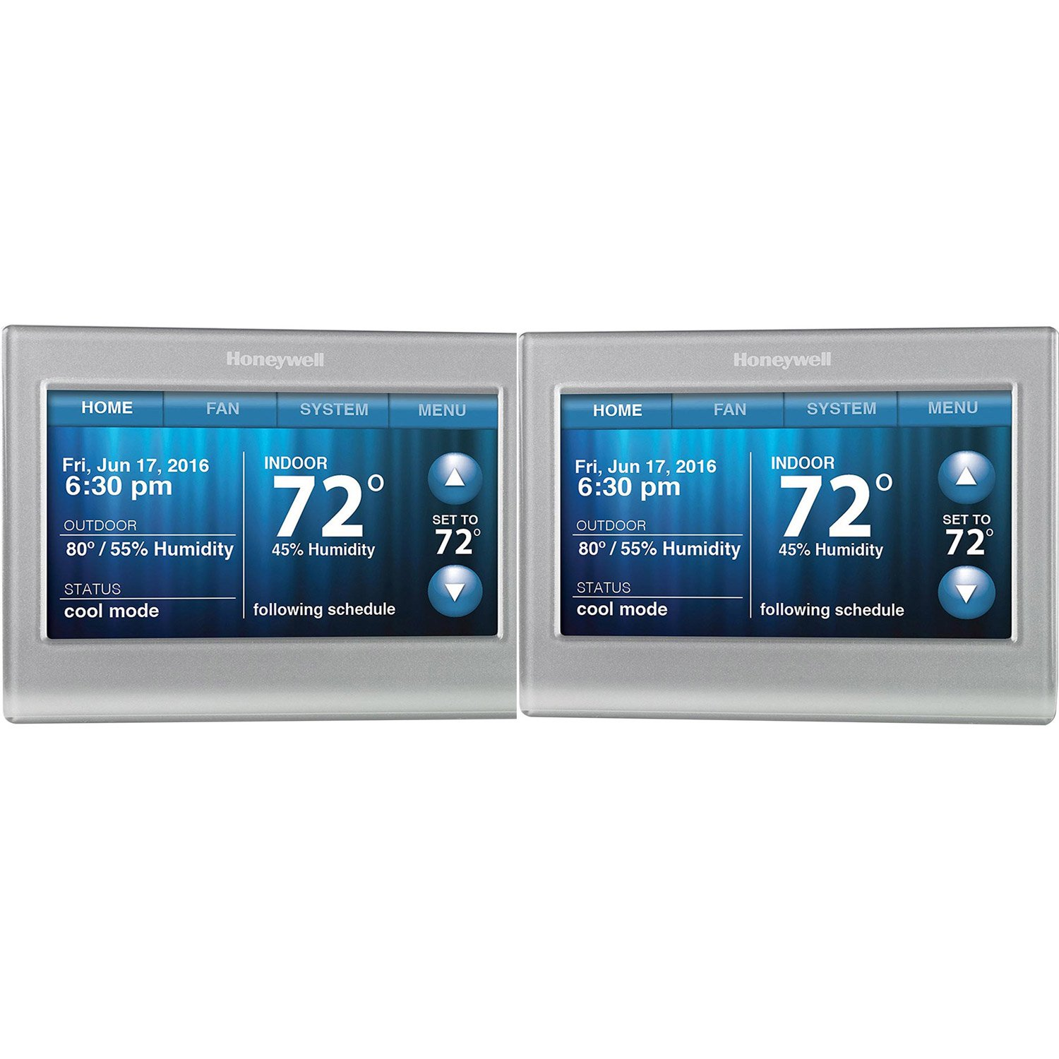 Honeywell RTH9580WF Smart Wi-Fi 7 Day Programmable Color Touch Thermostat, Works with Amazon Alexa ( Pack of 2 )
