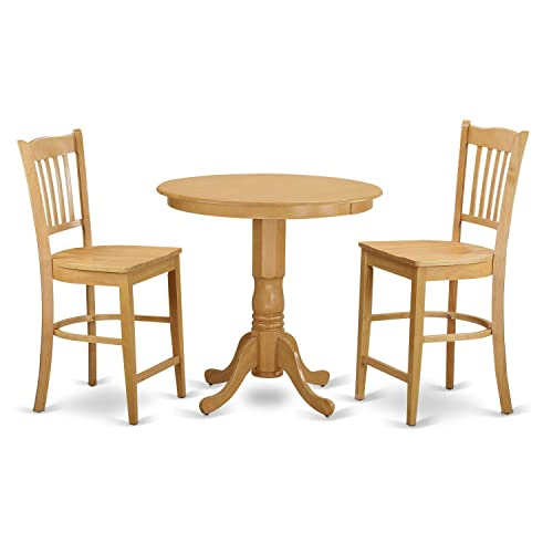 JAGR3-OAK-W 3 Pc counter height Dining room set – high top Table and 2 bar stools.
