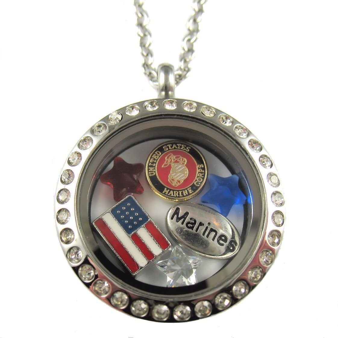 FCL Designs Marine Corps Theme Floating Charm Locket Necklace