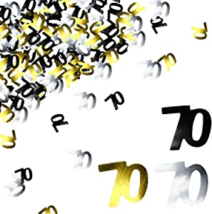 BEADNOVA 70th Birthday Confetti Seventy Years Old Confetti 70 Anniversary Number Confetti for Birthday Party Decor Wedding Table Decoration (1oz, Gold Silver Black Mix)