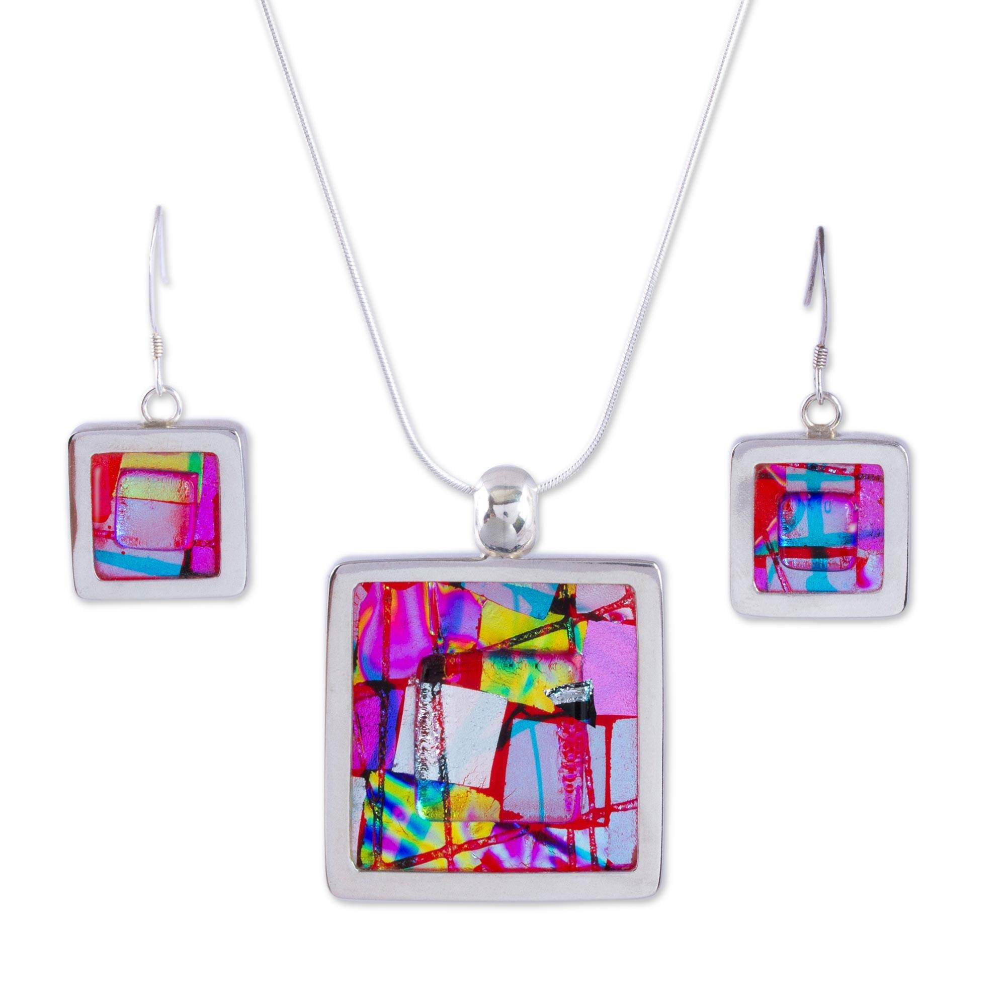NOVICA .925 Sterling Silver Glass Jewelry Set 'Seasonal Abstract'