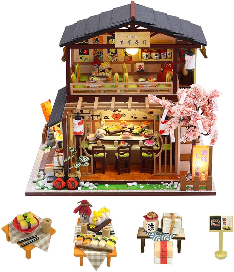 Flever Dollhouse Miniature DIY House Kit Creative Room with Furniture for Romantic Valentine's Gift(Sakura Sushi House)