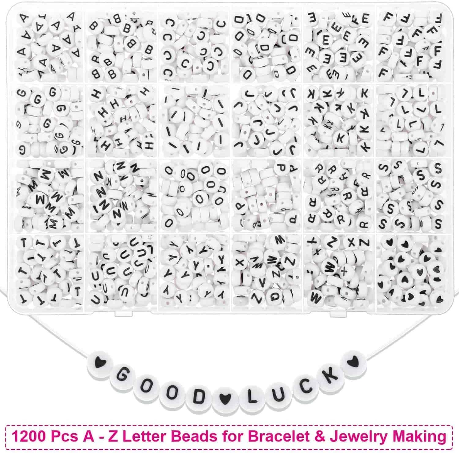 Bead Craft Kit Set,Glass Beads Small Letter Alphabet DIY Art and Craft for Women Wife Girlfriend Adult Kids Tesion Jewelry Making Kit Beads for Bracelets