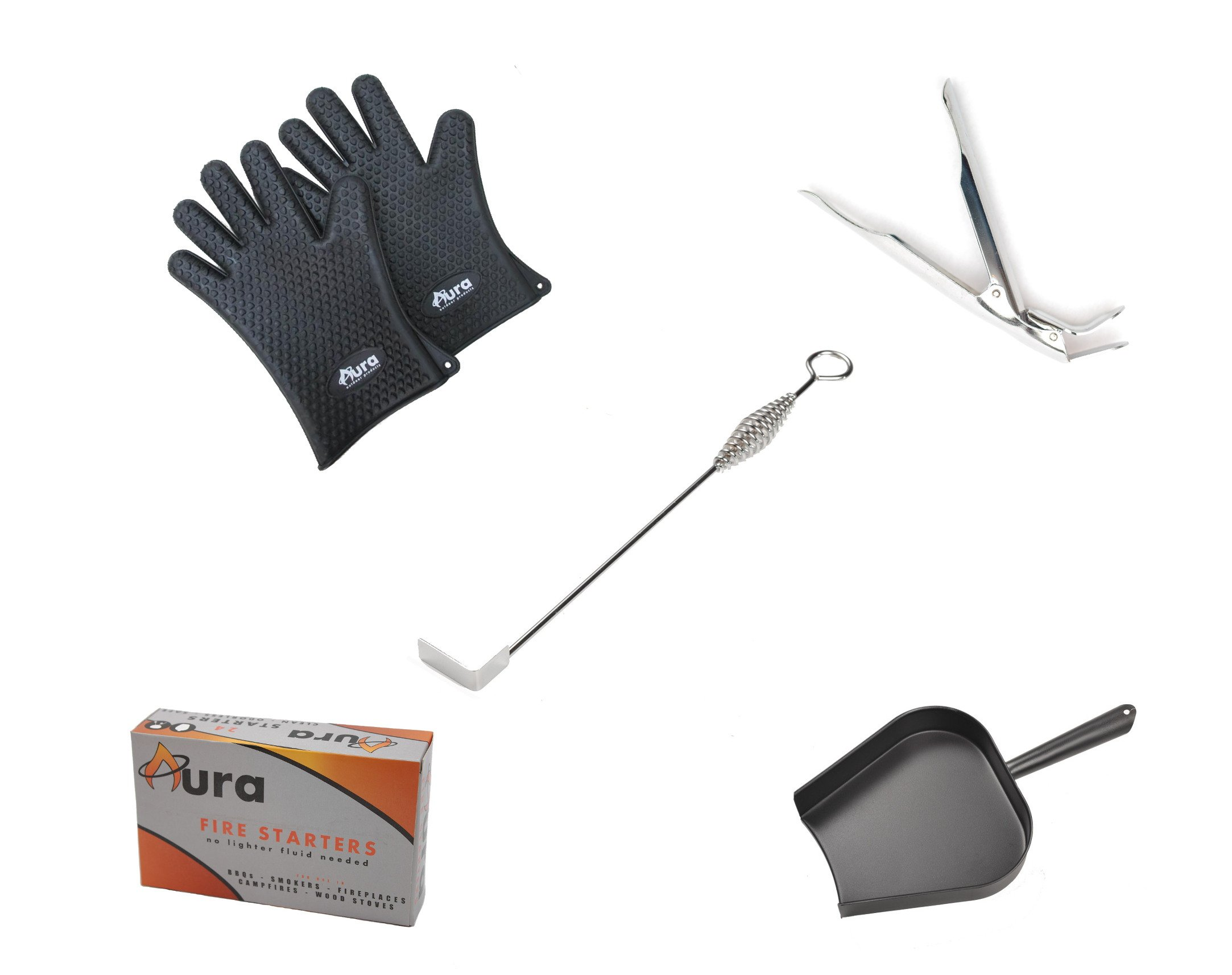 Aura Outdoor Products Kamado Grill Starter Kit with Grill Gripper, Ash Pan and Tool, Fire Starter and Grill Gloves for Big Green Egg, Kamado Joe and More!