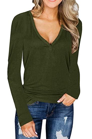 e13d2f4417 L ASHER Womens Deep V Neck Long Sleeve Henley Shirts Button Up Top Blouse  Tee T Shirt at Amazon Women s Clothing store