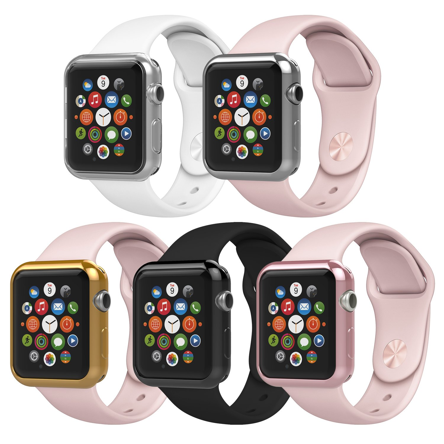 [5-Pack] Apple Watch 38mm Case, Anjoo iPhone Watch Slim TPU All-around Protective Clear Cover Case for iWatch 38mm Apple Watch Series 2 and Series 3 - Rose Gold, Gold, Silver, Transparent, Black by Anjoo (Image #7)