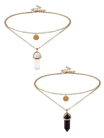 c509197ff7be Colgante de Cristal Hexagonal Collar de Cadena con Piedra de Cuarzo Collar  de Colgante de Gema de Bala