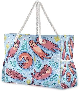 Hunihuni Bolsa de playa con diseño de nutria de mar, con asas de cuerda de algodón, cremallera superior, dos bolsillos exteriores: Amazon.es: Equipaje