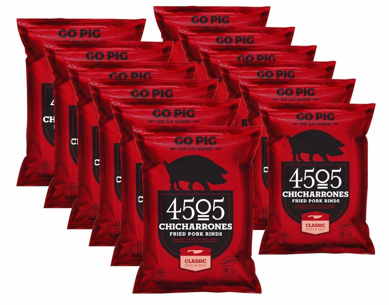 4505 Chicharrones (Fried Pork Rinds) Classic Chili & Salt, 2.5 oz, 12-pack by 4505 Meats (Image #2)