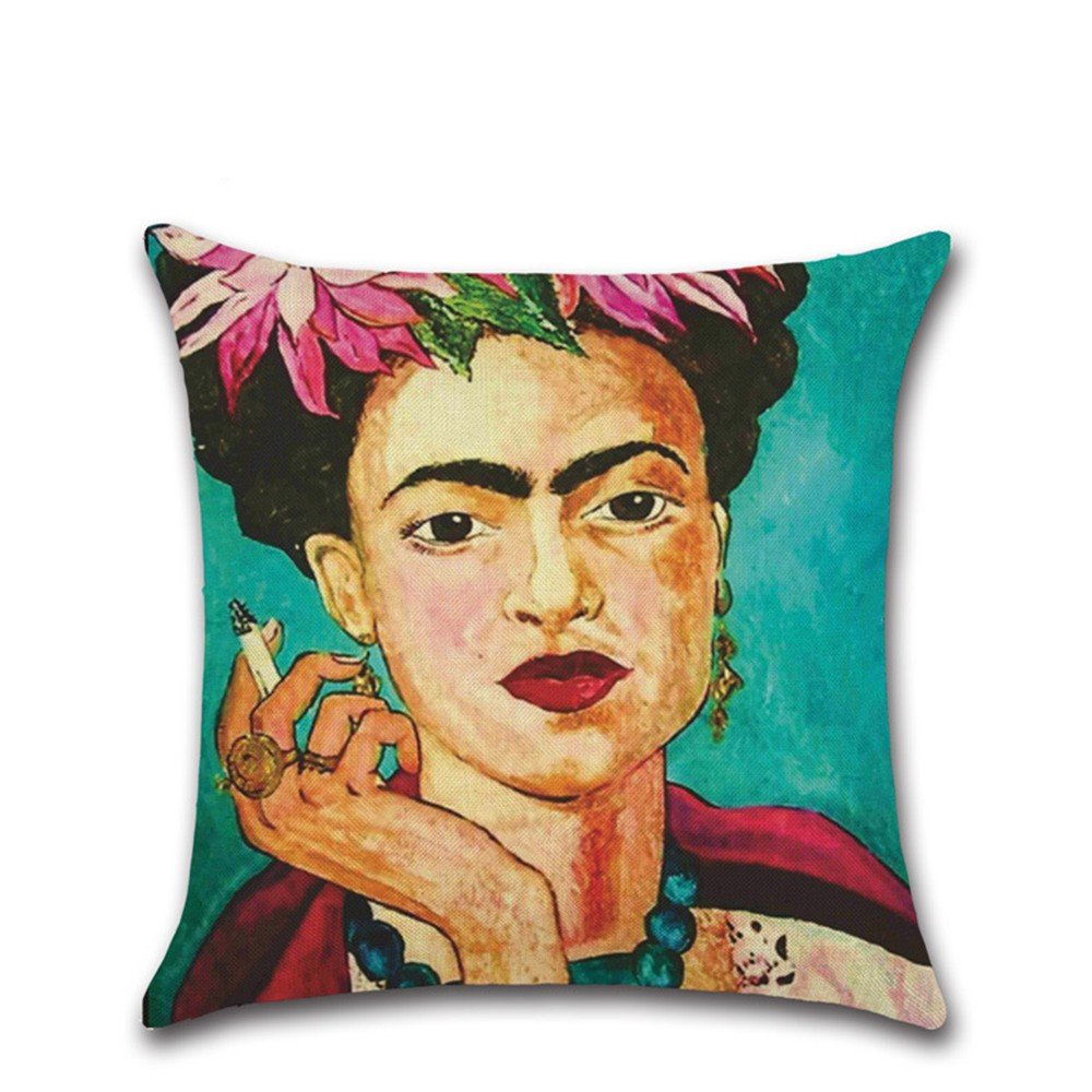 Funda de cojín de Excelsio, diseño de autorretrato de la pintora mexicana Frida Kahlo,