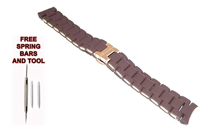 f22251a18b3a Amazon.com  ZTD212 Fit for E.Armani AR5982 Replacament 23mm Brown Rubber  Plated Steel Watch Band Strap Free Spring BAR Tool ARM126  Watches