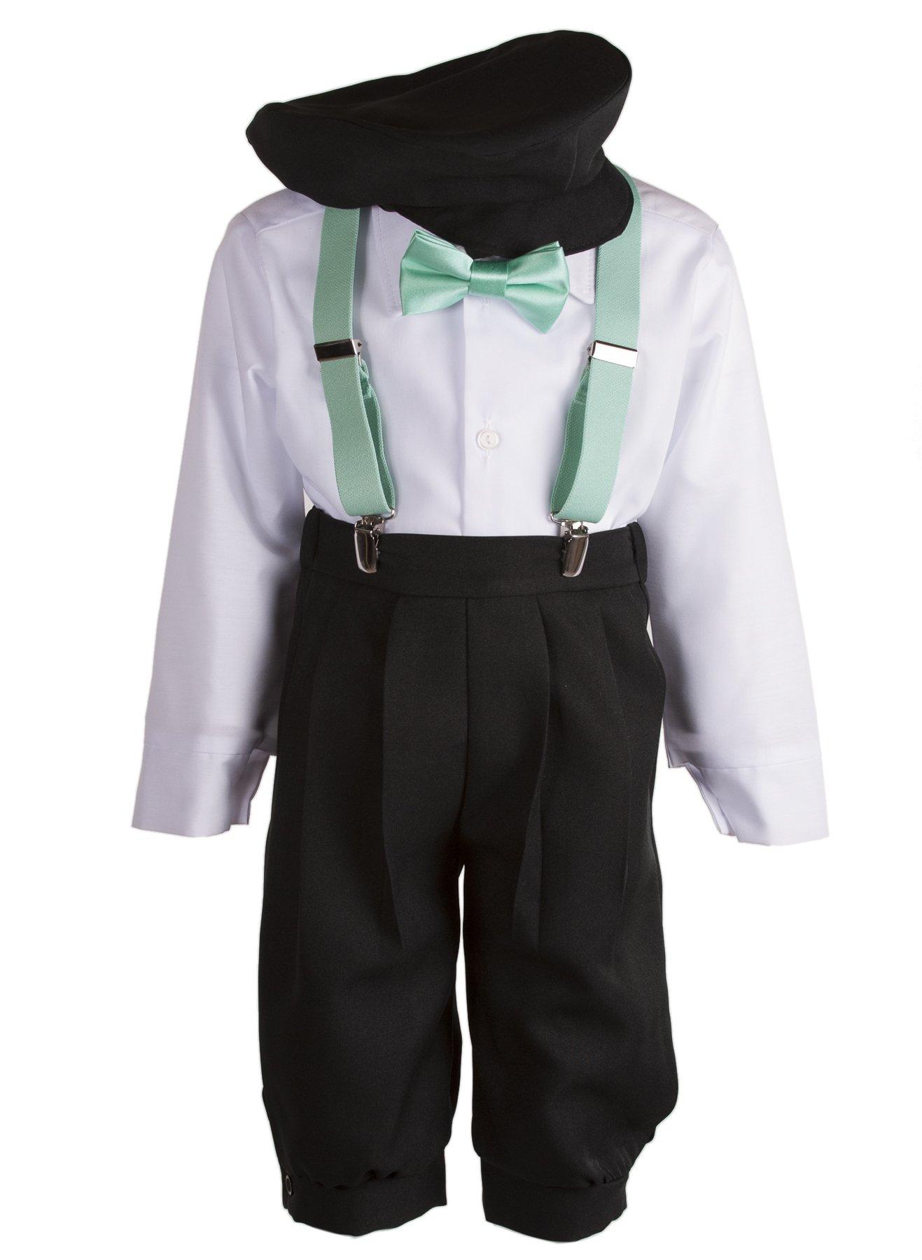 Boys Black Knickers Set Pageboy Cap Mint Suspenders & Bow Tie (4 Boys)