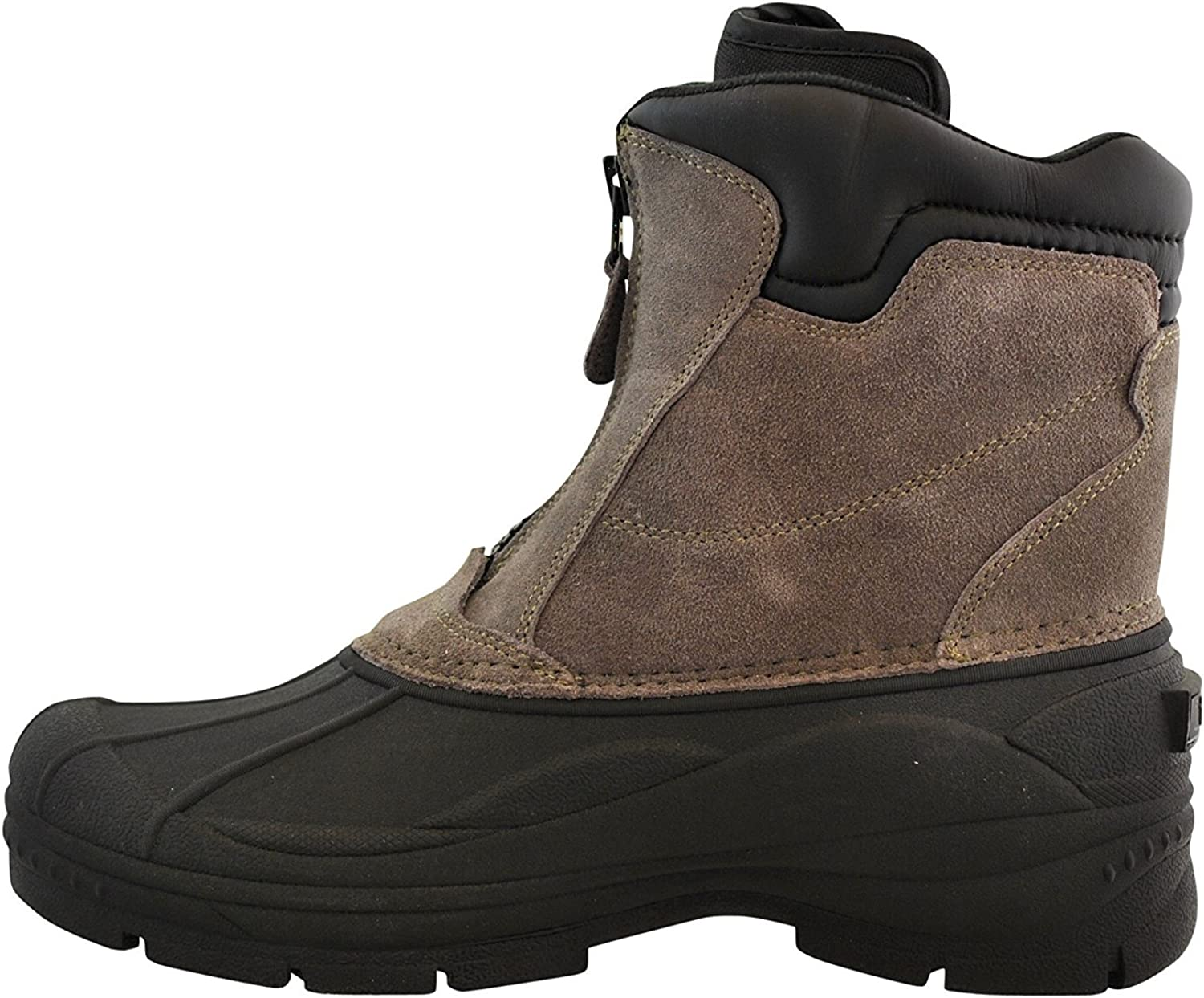 totes Mens Tornado Center Zip Leather Snow Boot