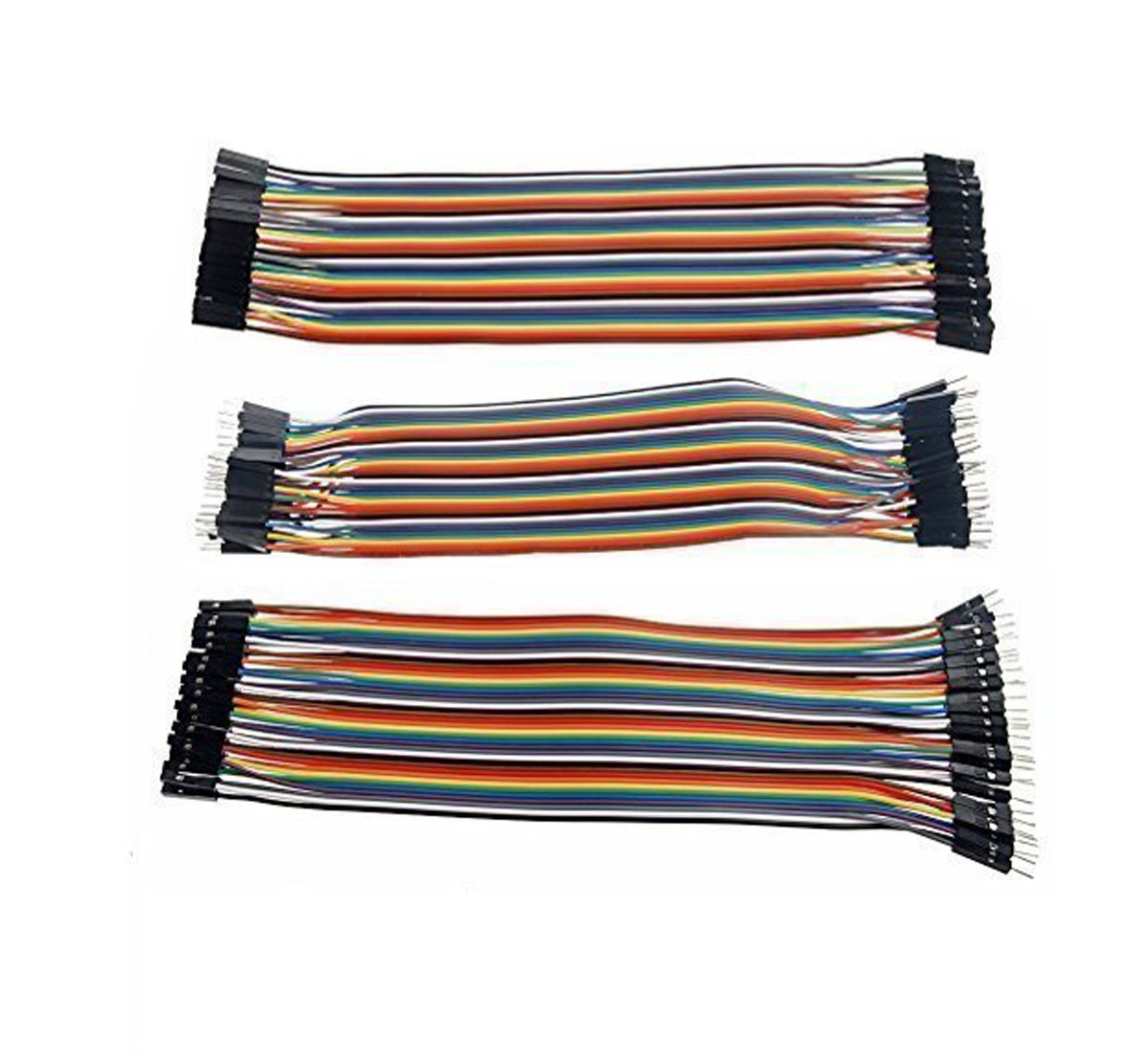 Haobase 120pcs Multicolored 40pin Male to Female, 40pin Male to Male, 40pin Female to Female Breadboard Jumper Wires Ribbon Cables Kit