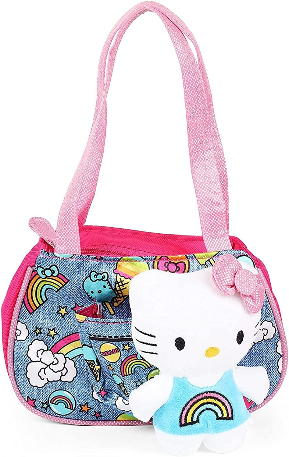 Sanrio Hello Kitty Pink Denim Tote with Hello Kitty Plush Cat for Girls