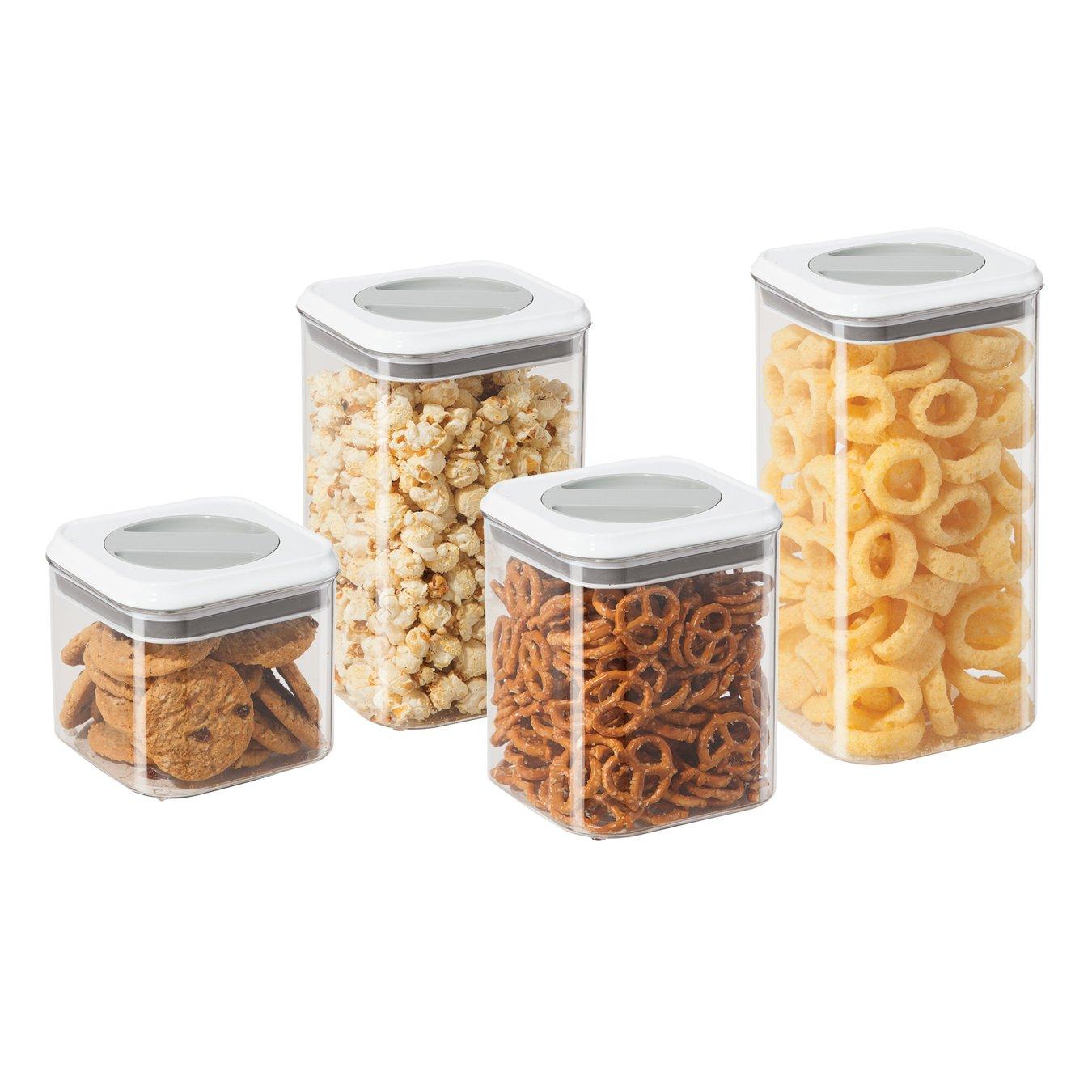 Oggi 4 Piece Twist and Store Airtight Square Clear Acrylic Canister Set Includes 1 each: 95 oz, 76 oz, 54 oz, 34 oz
